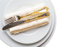 Empty Plate, Fork, Knife, Napkin VII Royalty Free Stock Image