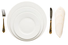 Empty Plate, Fork, Knife, Napkin VIII. Empty plate with fork, knife and napkin on white background Royalty Free Stock Photos