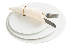 Empty Plate, Fork, Knife, Napkin Royalty Free Stock Image
