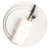 Empty Plate, Fork, Knife, Napkin Royalty Free Stock Photo