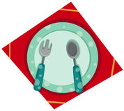 Empty plate with fork and spoon Royalty Free Stock Image