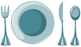 Empty plate with fork and spoon and knife Stock Photography