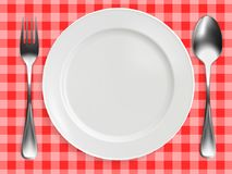 Empty plate, fork and spoon on red checkered tablecloth. realistic design. Vector illustration Stock Photos
