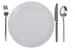 Empty plate, fork, spoon and table-knife Royalty Free Stock Photos