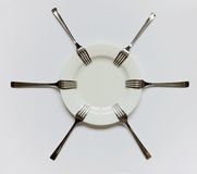 Empty plate and forks Royalty Free Stock Photo