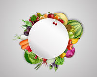 Empty plate with fruits and vegetables vector illustration