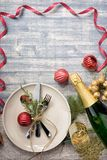 Christmas meal table setting design, flat lay. Stock Photography