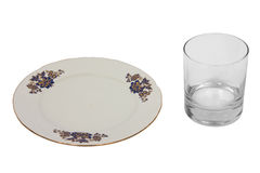 Empty plate and glasswater Stock Photo