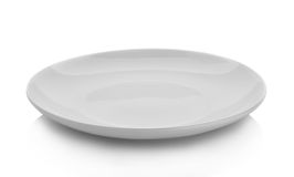 Empty plate isolated on white background. stock photo