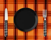 Empty Plate with knife and fork. Empty red Plate with knife and fork Stock Photos