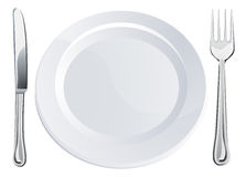 Empty plate and knife and fork cutlery Royalty Free Stock Photos