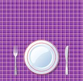 Empty plate, knife, fork, on vioet checkered tablecloth backgrou. Table setting for dinner. Vector illustration with empty plate, knife, fork, on vioet checkered Royalty Free Stock Photo