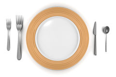 Empty plate with knife, forks and spoon isolated Stock Photos