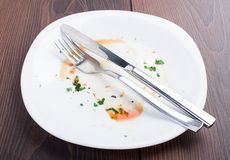 Empty plate left after dinner Royalty Free Stock Photography