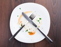 Empty plate left after dinner Stock Images