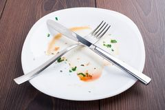 Empty plate left after dinner Stock Photography