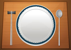 Empty plate on mat Royalty Free Stock Photos