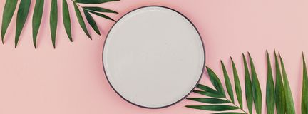 Empty plate mockup with green tropical leaves. Creative flat lay top view of green tropical palm leaves millennial pink paper background with empty plate mock up stock photo