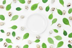 Empty plate, organic spinach leaves and quail eggs for a healthy recipe on white background top view. Flat lay. Empty plate, organic spinach leaves and quail Stock Photos
