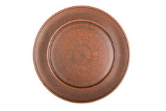 Empty plate of red clay isolated Stock Image