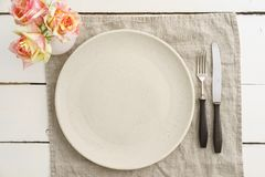 Empty plate with silverware Royalty Free Stock Photo