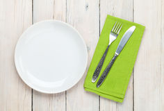 Empty plate and silverware Stock Photo