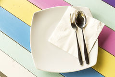 Empty plate and silverware set Royalty Free Stock Photos