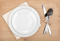 Empty plate and silverware set Stock Image