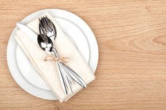 Empty plate and silverware set Stock Photos