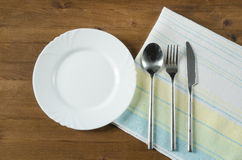 Empty plate and silverware set Royalty Free Stock Images