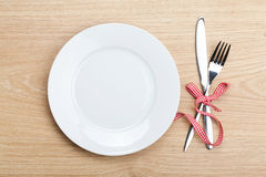 Empty plate with silverware Stock Image