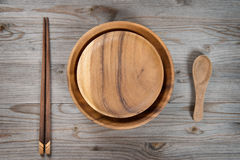 Empty plate, spoon and chopsticks Stock Photography