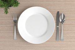 empty plate, spoon, fork and knife Royalty Free Stock Photo