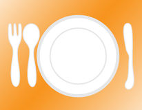 Empty plate. With spoon and knife fork Royalty Free Stock Photo