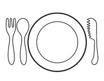 Empty plate. With spoon and knife fork on a white background Royalty Free Stock Photo