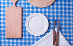 Empty plate. On tablecloth. View from above Royalty Free Stock Photo