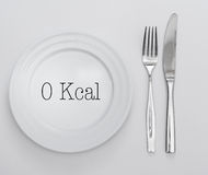 Empty plate with text 0 Kcal Royalty Free Stock Images