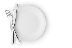 Free Empty Plate With Fork And Knife Royalty Free Stock Image - 59197326