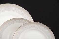Empty plates isolated Stock Image