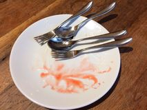 Empty Plates Are A Perfect Accolade. Empty Plates, whether Starters Mains or Desserts, Are A Perfect Accolade for Chefs royalty free stock photography