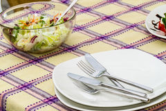 Empty plates and utensils on a buffet table Royalty Free Stock Images