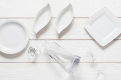 Empty plates on white background, void, flat lay Stock Photos
