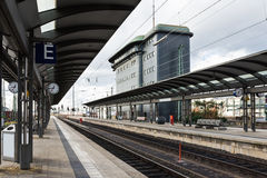 The empty platform with control tower of Frankfurt Main station Royalty Free Stock Photos