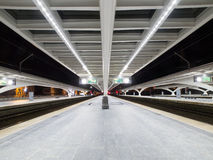 Empty Platform At Night in Train Station Royalty Free Stock Photos
