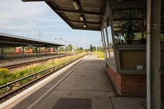 Platform of railway station in Berlin, Germany Stock Image