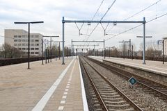 Platform railway station of Dutch city Almere Stock Photography