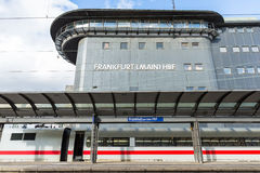 The empty platform with train with control tower of Frankfurt Ma Stock Photo