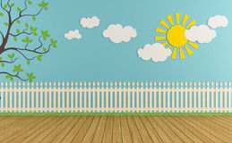 Empty play room. Empty child room with wooden fence,sun,clouds and grass on blue wall - rendering Royalty Free Stock Photos