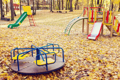 Empty playground at autumn Royalty Free Stock Images