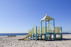 Empty playground for children on beach of coney island Royalty Free Stock Photos
